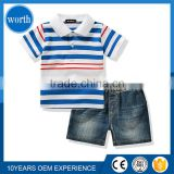 (Polo Pent 2 Pcs set) Stripe Polo shirts and Denim Jean shorts for kids Wholesale Importing from China