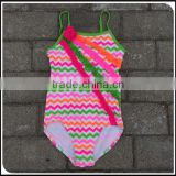 2016 Cute Stocked!! Children Swimwear Baby Girl Bikibi Swimsuit Rainbow Chevron Beachwear For European Children girls swimsuit
