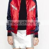 Runwaylover EY1052C Hot selling women floral embroidery satin bomber jacket women satin baseball jacket
