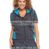 Cotton / Lycra Short Sleeve Zip Up Chic Sports Hoodie for Lady