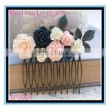 Best selling vintage flower hair comb navy blue rose floral collage wedding hair accessories