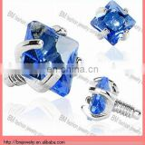 3mm Blue Prong Set Square Diamond Stone Micro Dermal Anchor Tops