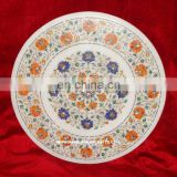 Micro Mosaic White Marble Inlay Pietra Dura Table Top