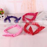 Beautiful girls rabbit ears elastic hair band hair accessories cotton fabric wave point bowknot headband women