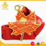 Shiny Gold Custom Southern Harvest Metal Medal with Maple Leaf Shape