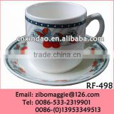 Professional Alibaba Express Ceramic White Tea Cups and Saucers with Flwoer Design for Tableware