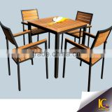 Gold supplier creative outdoor 4 seaters wicker elegent wpc dining table chairs                                                                         Quality Choice