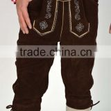 Cowhide suede Mens Bavarian LEDERHOSEN with Matching Suspenders Brown Leather