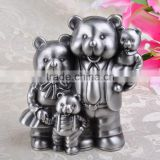 Zinc alloy black bear piggy bank metal crafts animal money pot