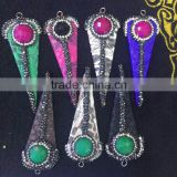 PC1639 2016 new colorful crystal pave snakeskin arrowhead pendant,snake skin spike pendants