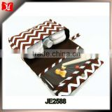 Brown chevron diaper clutch with clear zipper pouch, baby boy nappy bag