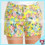 Bright Color Flowers Printed Ladies Hot Shorts Jeans Shorts Factory