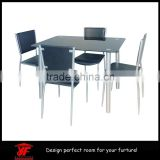 Designer Rectangle Glass Dining Table Set and 4 Black Faux Leather Chairs Seats dining tables and chairs