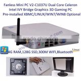 Wireless Mini PC 300M WIFI 4GB RAM 128GB SSD XBMC OpenELEC 3D Blue-ray Support Gigabit LAN Intel Bridge Motherboard