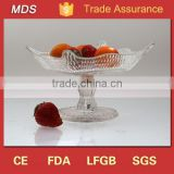 Popular clear glass square fruit plates with stand