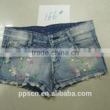 European design wholesale fashion blue acid wash women high waisted denim shorts,candy color print pants