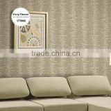 on sale deep embossed pvc coated wallpaper, brown oriental wide stripe wall decor for home deco , waterproof wall decor