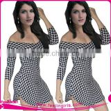 NO MOQ Black And White Wave Pattern Bodycon Bandage Dress