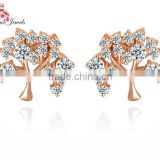AAA cubic zirconia Tree Cut 18k Rose Gold Plated and white gold plated Cute Earrings for Girls Small Stud Earrings