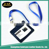 Plastic id window pvc id pass card holder neck wallet badge holder leather with lanyards