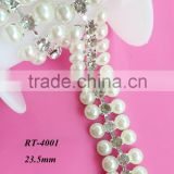 NEW crystal rhinestone Pearls trimming / headband rhinestone trim / bridal dresses crystal trim wholesale(RT-4001)