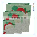 2015 NEW Christmas Bags Paper Printing Factory Santa Claus Xmas Present Gift Wrapping Paper Bag Set Pack