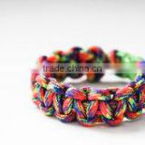 Rainbow High quality Paracord bracelet with whistle Flint and alloy bottle opener with paracord