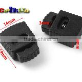 "Black Rectangular Rope Clamp Cord Lock Stopper For Cord Hole Size 1/8""(3mm) Sportwear Paracord #FLS099"