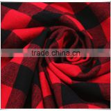 Red and black checks 100 cotton woven yarn dyed fabric, in stock