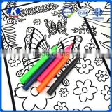 2016 New style flocked cloth coloring book set with 6pcs water color pen for kids                                                                         Quality Choice