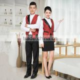 customized design top quanlity restaurant uniform hotel front office with vest