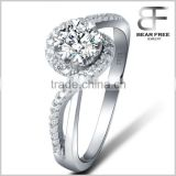 Latest Design 8 Claws Cluster Setting Diamond Heart Shape Platium Plated Silver Ring Cerecony gift Designs for ladies