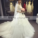 wedding dress 2016 Newest robe de mariage half sleeve lace soft tulle wedding dress DM-052 vestido de noiva bridal dress
