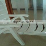 White Lounge outdoor Plastic chaise folding Beach Chair with headrest in Taizhou