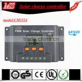 new popular 15A 12/24 auto solar charge controller regulator PWM, with LCD display and USB on hot sale