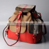 2015 Winter british plaid canvas shoulder bags lady backpack bucket bag