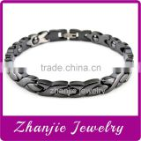 High Quality Black Color Ceramic Stainless Steel Bracelet, Mens Ceramic Bio Magnetic Bracelet Made In China