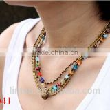 Gold jewelry colorful glass bead layer necklace handmade with wax cord weaved brass beads and glass bead necklace for women 2015                                                                         Quality Choice