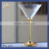 Top drawer handmade lead free clear crystal clear gold glass charger plates beadedshot glass with wine gold rim