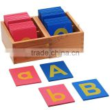 Montessori material kids educational toys for lower and capital case sandpaper letters with boxes