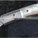 York Vivant-Custom Handmade Damascus Steel Folding Knife YVF-07 TINTED CAMEL BONE & DAMASCUS STEEL