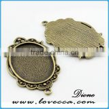 oval setting tray blanks pendants	,Antique style metal setting,Cameo Setting Charm Pendant