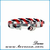 Gentleman Permanent Blue and Red color Rope Stainless Steel Bracelet Anchor