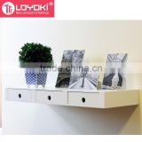 New design MDF wood organizer wall decoration Floating Wall Mounted Multipurpose floating Shelf with 3 Drawers
