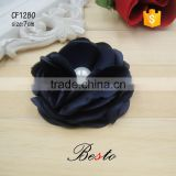 7CM Handmade sewing black pearl satin fabric flower