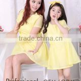 pure yellow short sleeve sweet parent-child frock dress Mother and Daughter dress design