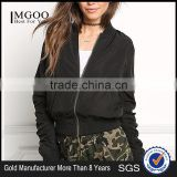 MGOO Factory Made Bulk Price Winter Ruffles Cool Jackets Crop Sexy Oversized Jackets Navy Blue Padded Coat
