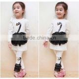 Black and white baby girl Swan cotton suit autumn children suit for girls fall paragraph T-shirt +Pants 20019