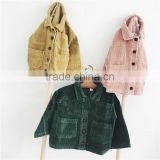 1-6 years 2017 New Wholesale Autumn Full Sleeves Solid Corduroy Kids Boys Girls Coats (pick size color)