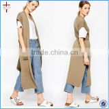 Ladies Kint Sleeveless Longline Cardigan With Belt and pockets